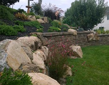 Retaining Wall enhances yard in Douglassville