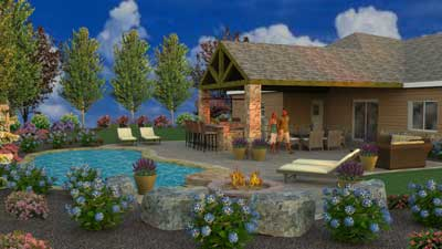 3D pool and patio design Douglassville, PA