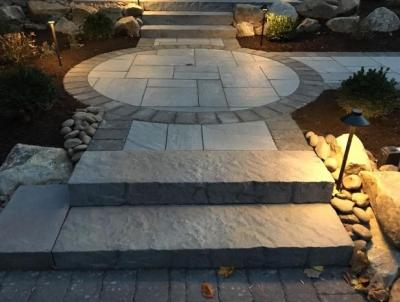 Aberdeen slab Techo bloc pavers with a soldier bolder.  Installation in Spring City, PA