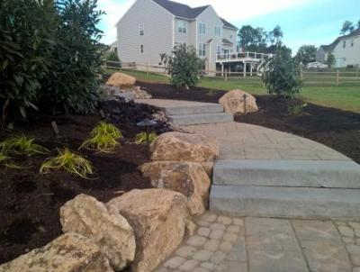 Walkway in Downingtown that connects front of house to back patio.