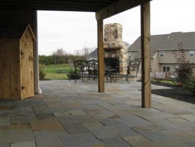 Flagstone patio with fireplace in Gilbertsville, PA