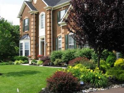 Chester Springs landscaped front yard.