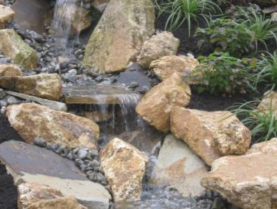Waterfall off a patio in Malvern, PA