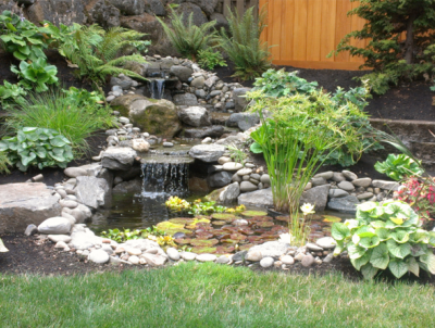 river rock in water feature