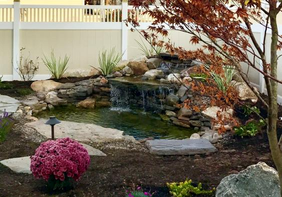 Pond and waterfall in Gilbertsville, PA