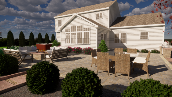 A 3D Design for a patio project by Whitehouse Landscaping