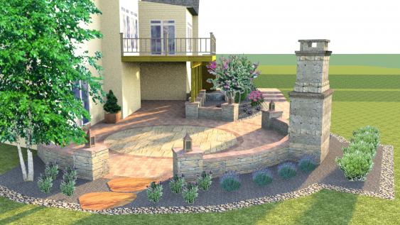 3-D design of a patio, wall and fire place.