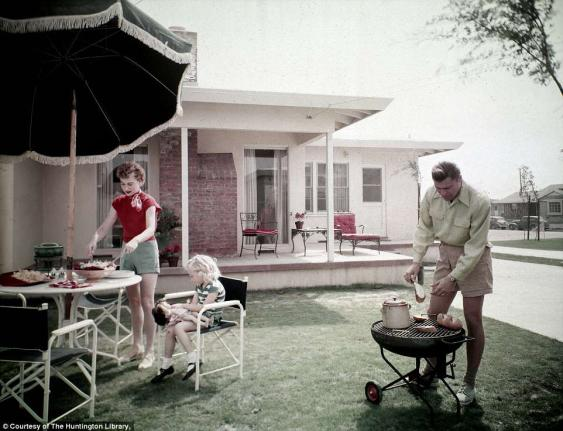 A photo from the Smithsonian Traveling Exhibit illustrating what a 1950's backyard looked like.   Photo: The Huntington Library, San Marino, Calif.