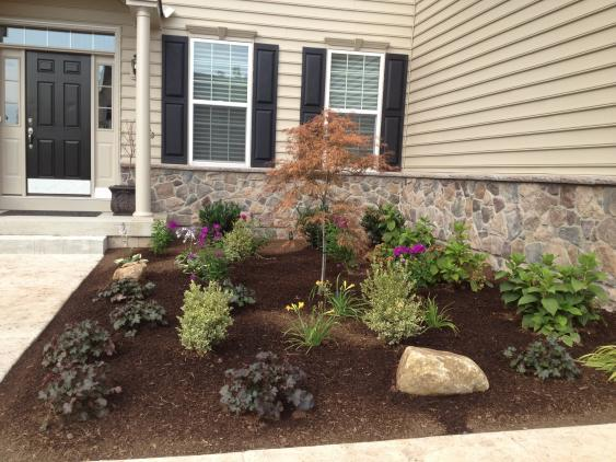 Newly installed front door landscaping in Harleysville, PA