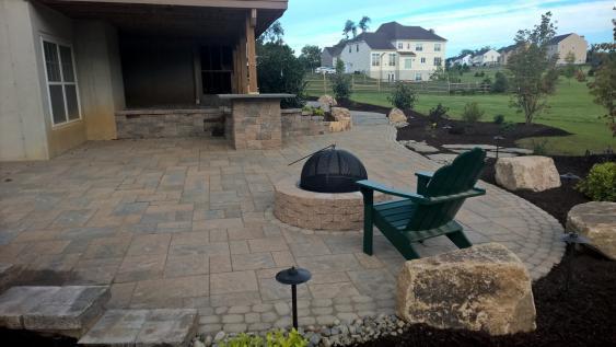 Downington patio installation using Techo-Bloc 60 pavers.
