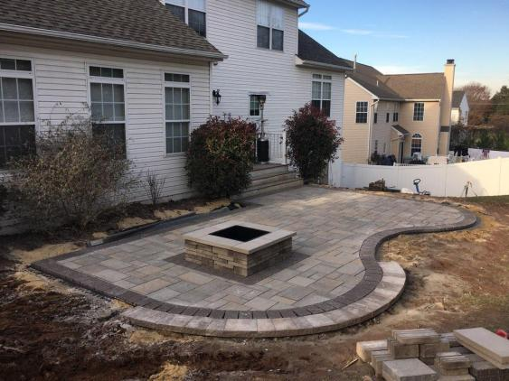 Patio and Fire pit installation in progress in Gilbertsville, PA