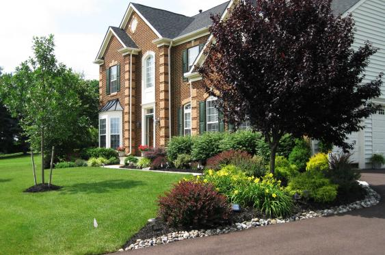 Front yard landscaping in Chester Springs, Pa
