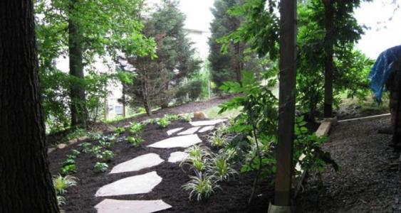 A shaded property in Birdsboro with stepping stones and mulch.