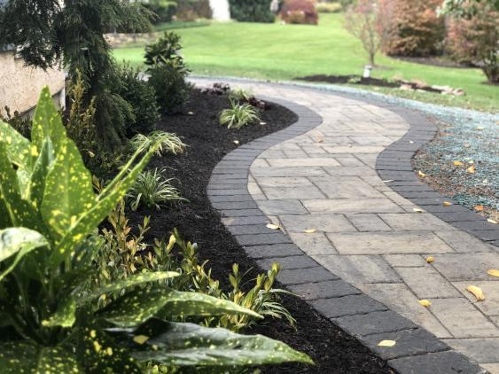 This Phoenixville walkway's interior pavers were Techo bloc blu 60 (Shale grey) with contrasting Hera pavers (Onyx black)