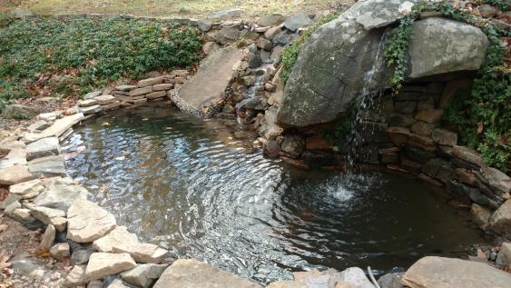Pond with Waterfall Installed for Schwenksville Client