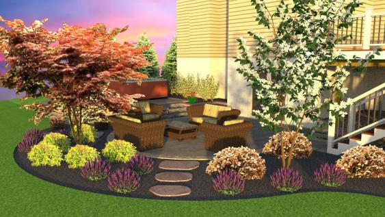 A patio for relaxation and a good flow of landscaping.
