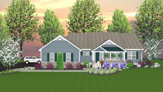 A 3-D rendering for a client that has balance, color and texture.