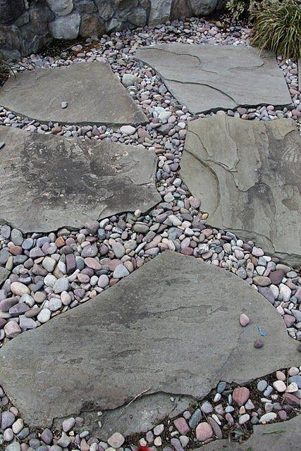 flagstone and river rock pebbles