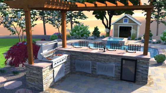 3D render of outdoor kitchen.