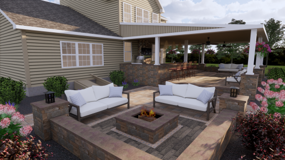 Everyone loves gathering around a fire pit for both its looks and warmth.