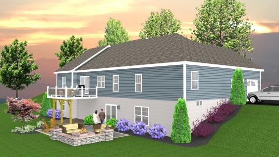 The homeowner can better visualize the new patio under the deck with the use of 3D Design.