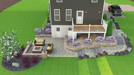 a 3D rendering of a patio space with steps that lead from the front yard.