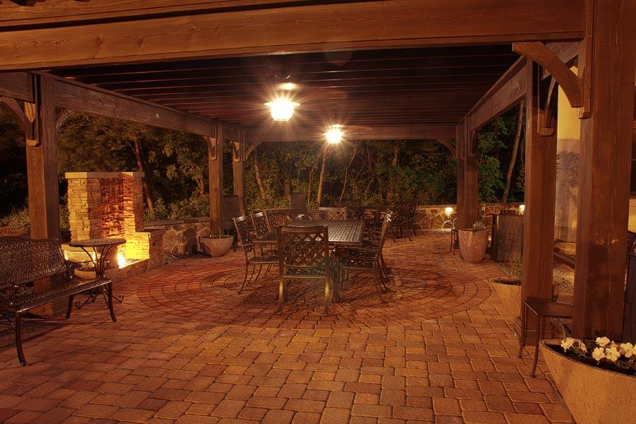 Outdoor lighting ideas for patios Landscaping Overhead Lighting Brightens Up This Pergola In Pottstown Pa Whitehouse Landscaping Outdoor Lighting Ideas Whitehouse Landscaping
