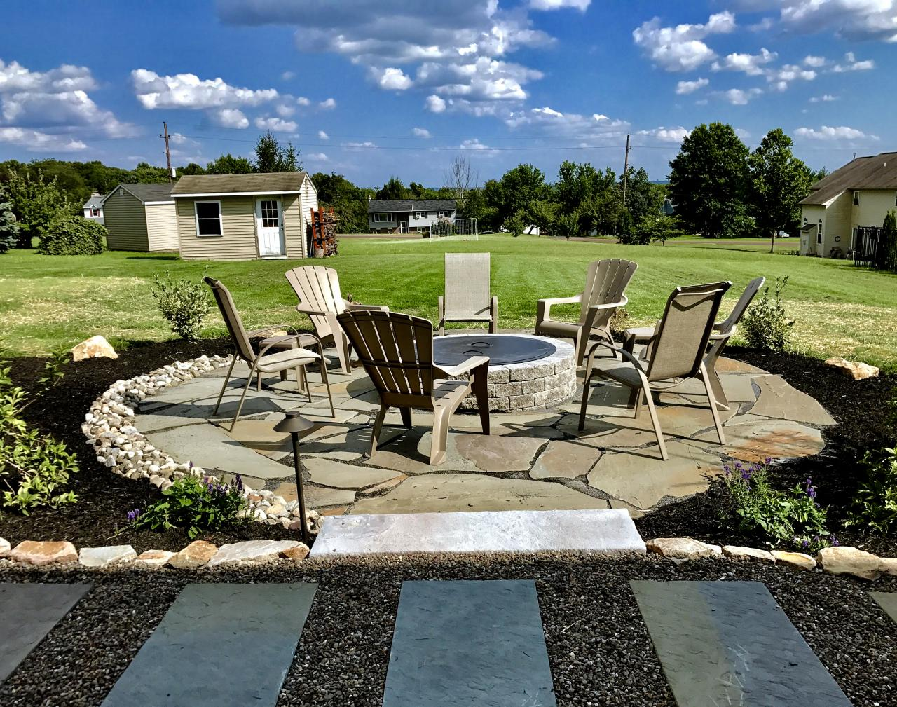 Flagstone Patio Surrounding Firepit In Limerick