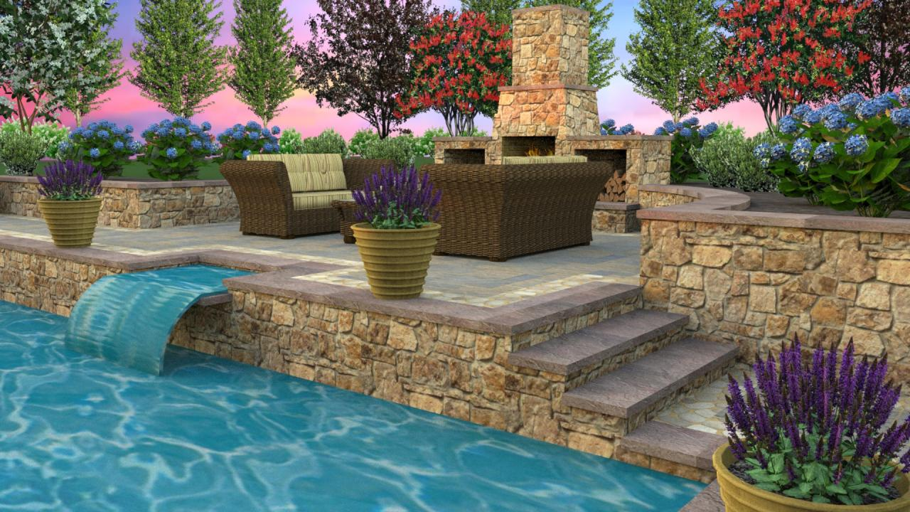 Contemporary Water Fall With Multi Level Pool Decking.