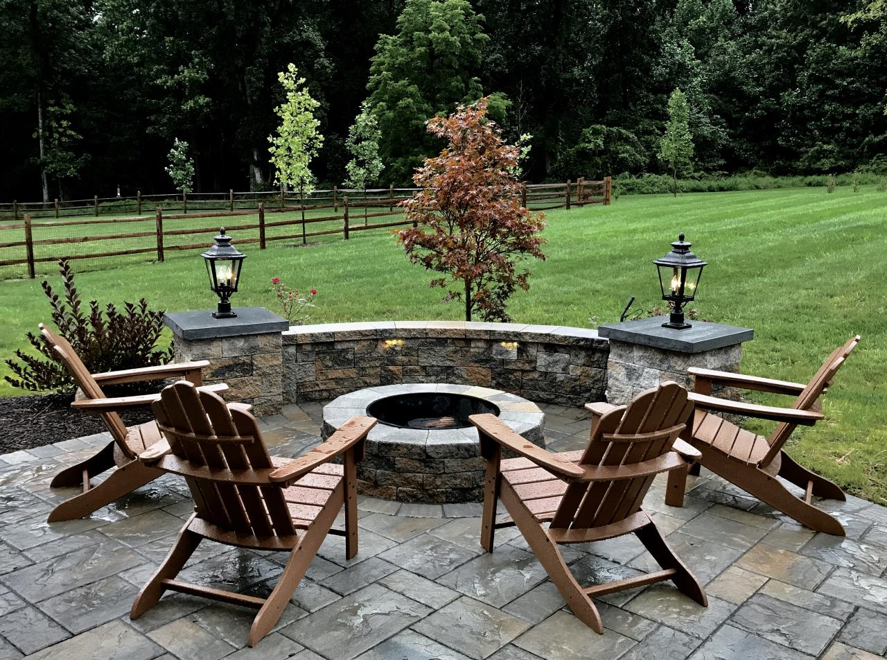Amazing Wonderful Outdoor Living Space With Patio, Sitting Wall And Fire Pit.