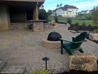 Downingtown PA hardscaping project before