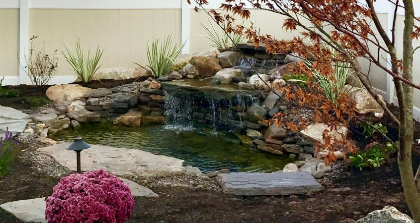 Pond in Gilbertsville, PA with waterfall
