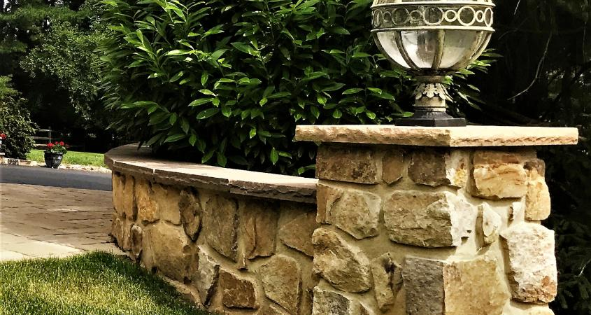 Stone veneer light post in Malvern, PA