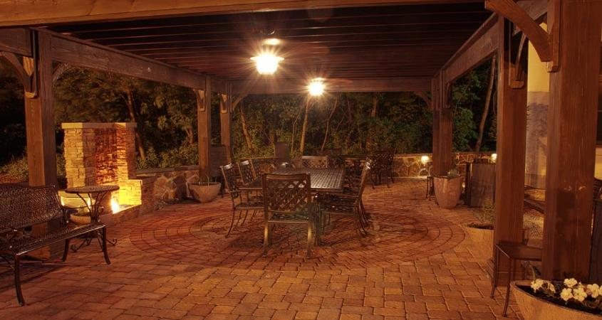 Outdoor lighting under pergola with seating area in Pottstown, PA