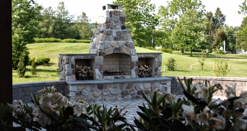 Stone and brick fireplace in Schwenksville, PA