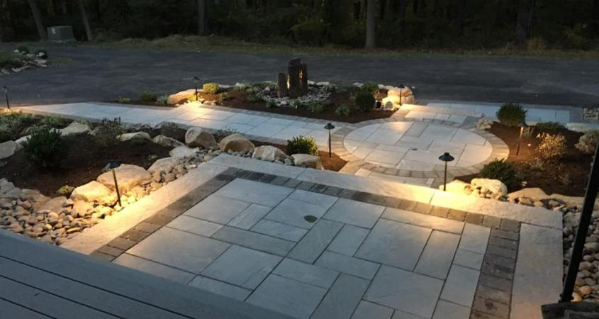 Patio pavers and walkway in Spring City, Pa at night