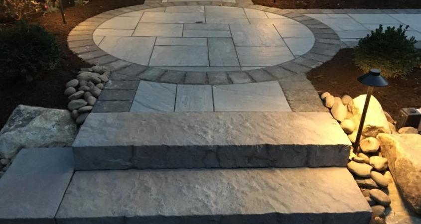 Circular walkway in Spring City, PA with stone and lights