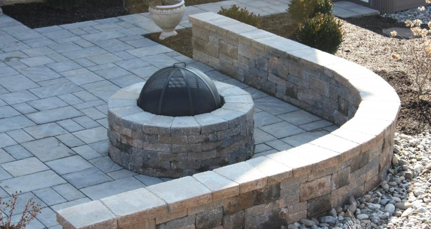 Fire pit with retaining wall in Malvern, PA