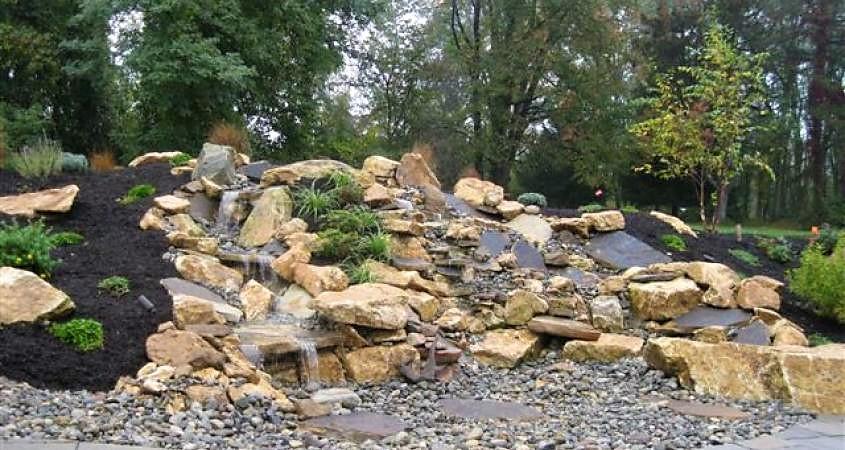 Pondless waterfall in Malvern PA