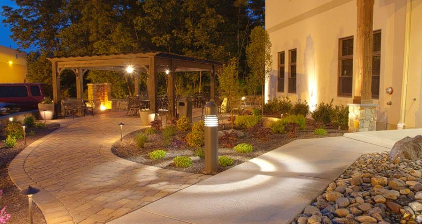 A wide walkway, paver patio and pergola give the residents at Creative Health Services, Pottstown, Pa a place to relax.
