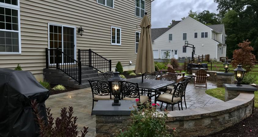 Downingtown, PA patio with lights and roses