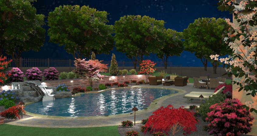 Custom pool waterfall and landscape lighting in 3D design