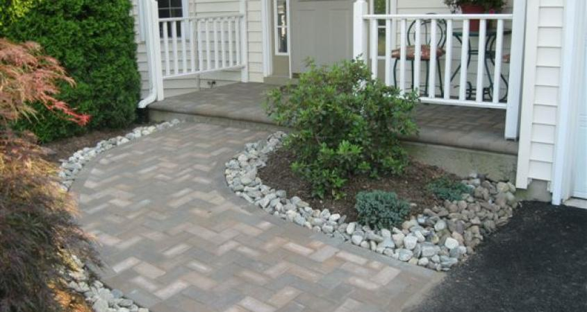 An old concrete walkway was replaced by this handsome paver installation in Spring City, Pa.