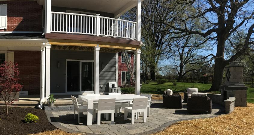Phoenixville PA patio with blocks and firepit