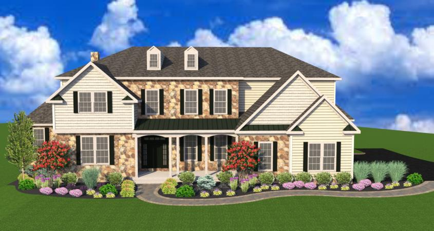 3D landscape design with trees and shrubs Phoenixville PA