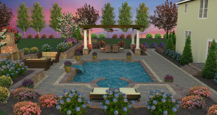 Backyard pool 3D design