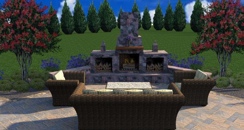 3D landscape design with fire pit Schwenksville PA
