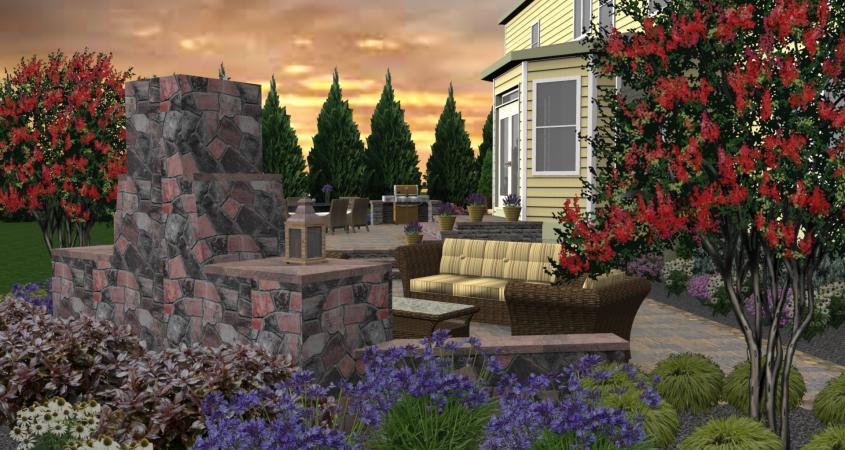 3D landscape design side view with fire pit Schwenksville PA