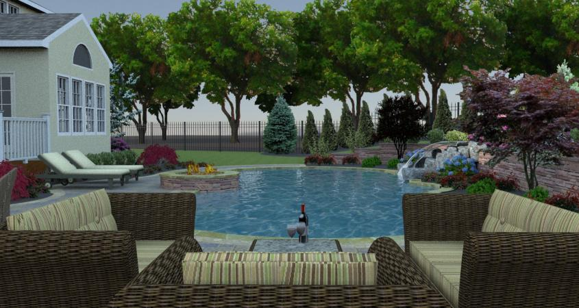 Sitting area to view pool with fire pit and waterfall in 3D design