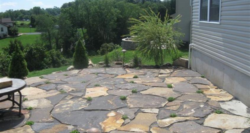A small Western Mountain Flagstone patio in Douglassville is interspersed with creeping Mazus plant that tolerates foot traffic.